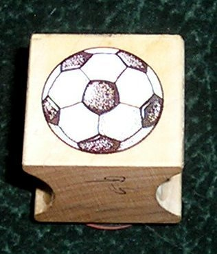 Rubber Stamp Mounted On Wood Soccer Ball By All Night Media 1995 New