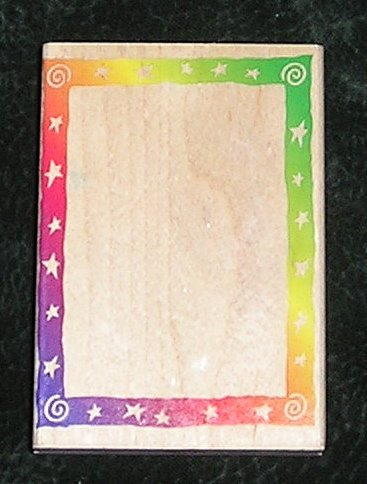 Rubber Stamp Mounted On Wood Swirl Star Frame Border By Hero Arts 1996 New