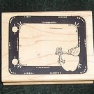 Rubber Stamp Mounted On Wood Teachers Border Frame With Apple & Worm By Limited Edition 1997
