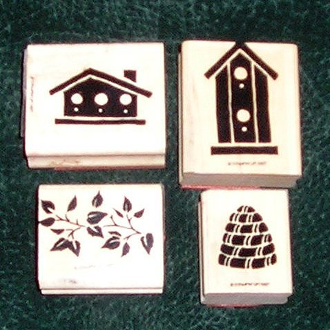 4 Rubber Stamps Mounted On Wood Birdhouses Beehive & Leaves Stampin' Up! 1997 Retired Rare