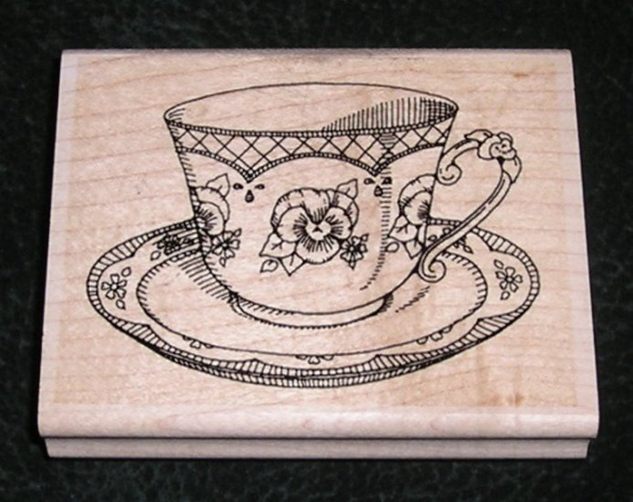 Rubber Stamp Mounted On Wood Tea Cup With Saucer English Style
