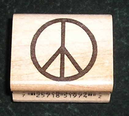 Rubber Stamp Mounted On Wood Peace Sign By Inkadinkado