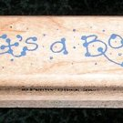 Rubber Stamp Mounted On Wood It's A Boy By Penny Black 435D