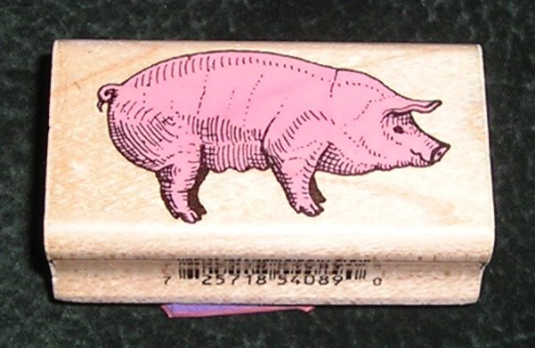 Rubber Stamp Mounted On Wood Farm Pig By Inkadinkado #4089