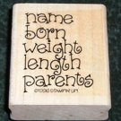 Rubber Stamp Mounted On Wood New Baby Announcement Label By Stampin' Up!