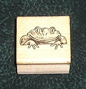 Rubber Stamp Mounted On Wood Frog By Hero Arts From 1985