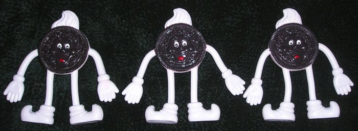 3 Collectible Oreo Cookie PVC Bendable Figures From 1980's