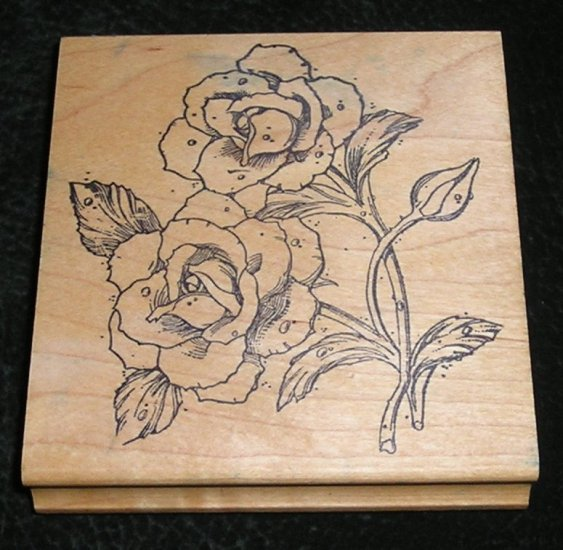 Rubber Stamp Mounted On Wood Roses By Rubber Stamp Pad Co #L9
