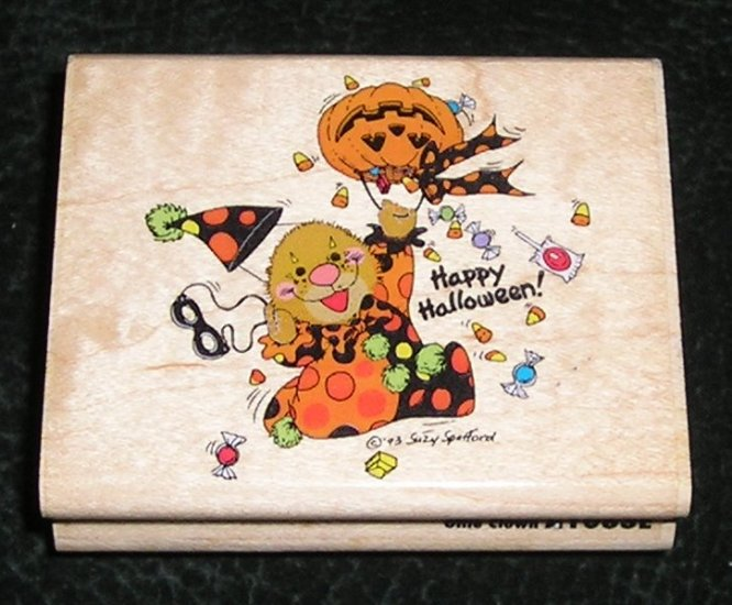 Rubber Stamp Mounted On Wood Ollie Clown By Suzy's Zoo Rubber Stampede #A1083E