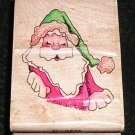 Rubber Stamp Mounted On Wood Top Claus By Stampassions #C2536