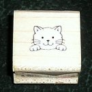 Rubber Stamp Mounted On Wood Peeking Kitty By Hero Arts A268 From 1988