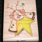 Rubber Stamp Mounted On Wood Greetings Deer By Stampassions D2537