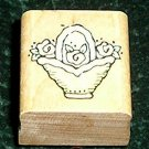 Rubber Stamp Mounted On Wood Bitsy Basket By Penny Black 868A From 1996