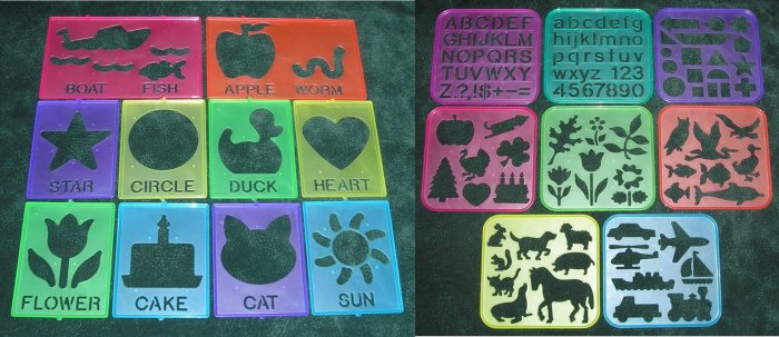 18 Tupperware Tuppertoys Art Stencils 1987-1990
