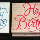 2 Rubber Stamps Mounted On Wood Happy Birthday By Hero Arts