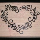 Large Rubber Stamp Mounted On Wood Heart Shaped Roses By Denami Design