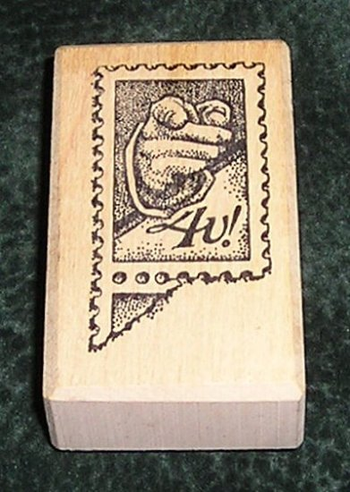 Rubber Stamp Mounted On Wood 4U! Postage Stamp By Too Much Fun