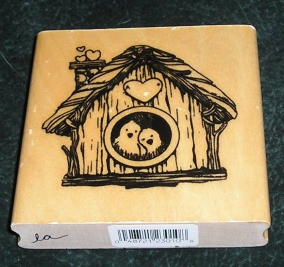 Rubber Stamp Mounted On Wood Love Birds In A Bird House By Anita's 1999