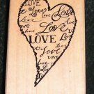 Rubber Stamp Mounted On Love By PSX F-2841