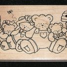 Rubber Stamp Mounted On Wood Bears, Bees And Hives By Darcies V2518