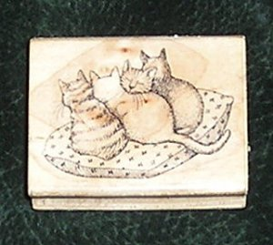 Rubber Stamp Mounted On Wood 4 Cats On Pillow By Hero Arts