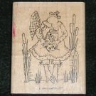 Rubber Stamp Mounted On Wood Frog Fresh Flies By Stampin up!