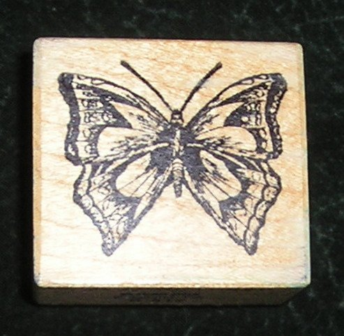 Rare Rubber Stamp Mounted On Wood Butterfly By PSX D-512