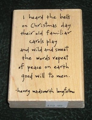 Rubber Stamp Mounted On Wood Good Will To Men By Penny Black # 2758J