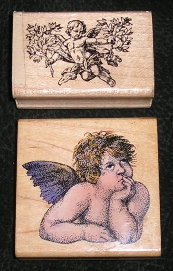 2 Rubber Stamps Mounted On Wood Cherub/Angel By Marks Of Distinction & Comotion