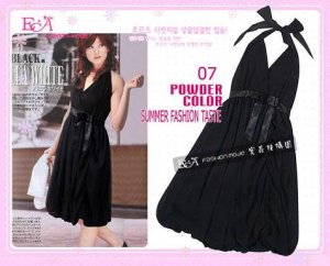 Hot Sale item -Beautiful Halter Neck Evening Dress with Tie Front Ribbon -Black