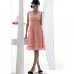 Hot sale - Elegant and Charming Chiffon Dress - Pink