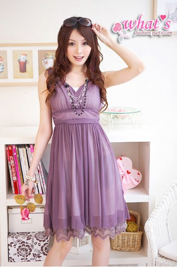 JE-30438P Beautiful Purple Chiffon Dress w inner tube