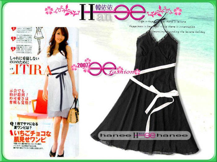 JE-9076 Silk Wrinkled Black Dress