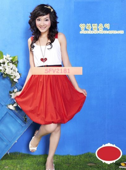 Hot Sales -SIN 2181 Cheery Red and White Dress