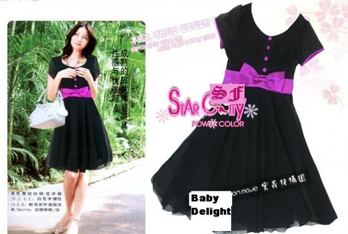 SIN 21126 Beautiful Black Dress with Purple Ribbon