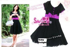 SIN 21126 Beautiful Black Dress with Purple Ribbon