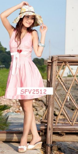 SIN 2512 Beautiful V neck Halter Dress ( Pink)