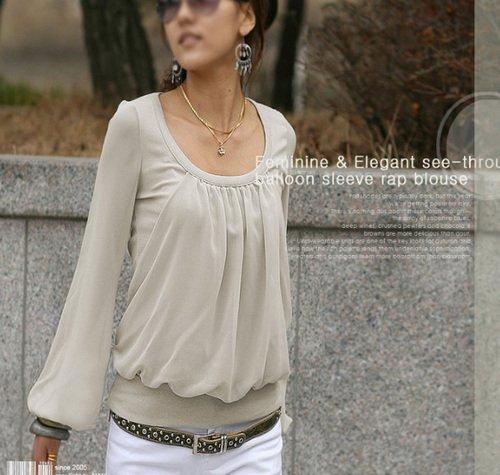 Hot Sale Long Sleeve Elegant Blouse - Grey