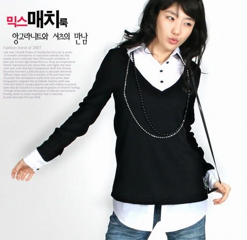 EYC 1678 Fake 2 piece Long Sheeve Shirt - Black