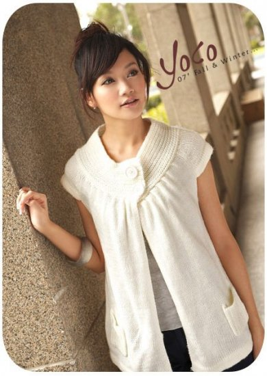 YC625b Cute Sleeveless Button Jacket - White