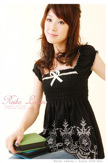 ED903 Korean gothic floral Top -Black