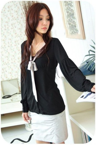 EYC1512 Ladies Blouse with Ribbon - Black