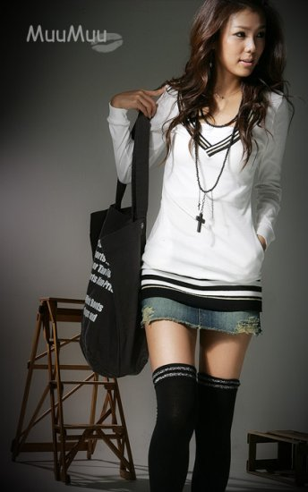 CO2791 V Neck Fashionable Hat Long Sleeve Top
