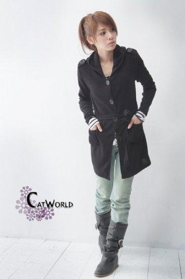 CO2971Long Sleeve Jacket with Belt - Black