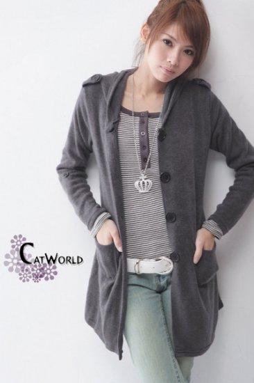 CO2971Long Sleeve Jacket with Belt - Grey