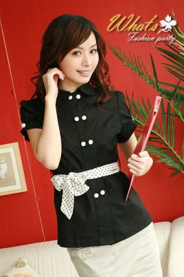 JK6002 Front Button OL BLouse (Black)