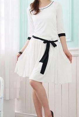YC3107/CO2935  Cotton One Piece Dress - (White / Black)