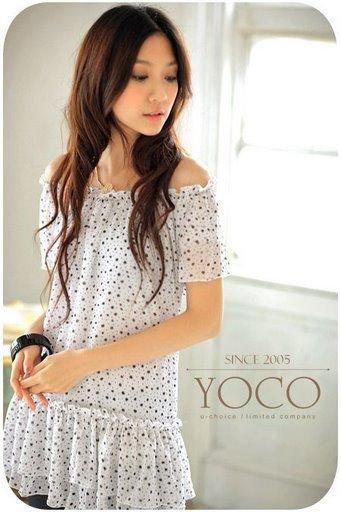 YC1322 Poky Dot Off Shoulder Dress- White