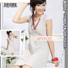 SIN 2195 Cotton Grey Dress with White Ribbon