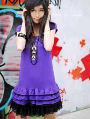 R26-021 Sweet Layer Girl Dress- Purple